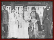 Susan Laflesche (center) on Graduation Day, Hampton Institute, in 1886. To her left: George Gushotter (Sioux, Lower Brule) and Anna Dawson (Arikara); to her right: are Rebecca Mazaute (Sioux, Crow Creek) and Charles Picotee (Sioux, Yankton).